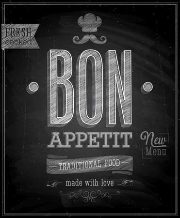 chalkboard: Vintage Bon Appetit affiche - tableau. Vector illustration. Illustration