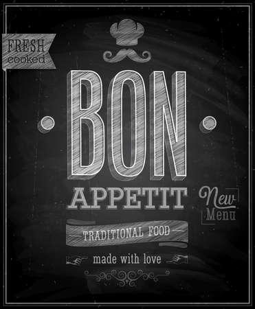 k�che: Weinlese Bon Appetit Poster - Tafel. Vektor-Illustration.