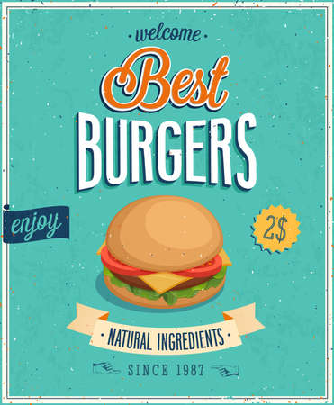 Vintage Burgers Poster. Vector illustration. Vector