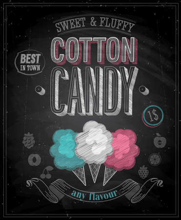 cotton: Vintage Cotton Candy Poster - Chalkboard. Vector illustration.