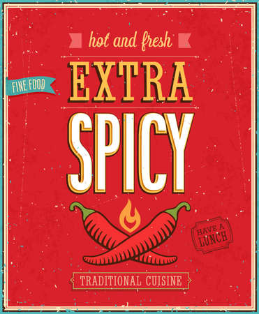 Vintage Extra Spicy Poster. Vector illustration. Vector