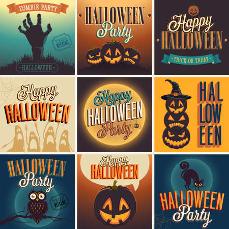 Halloween Posters set. Vector illustration. Çizim