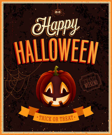 halloween: Happy Halloween Poster. Vector illustration.