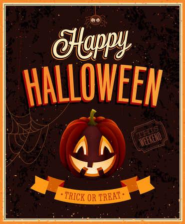 feliz: Poster Feliz Halloween. Ilustración del vector. Vectores