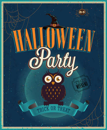 Halloween Party Poster. Vector illustration. Vector