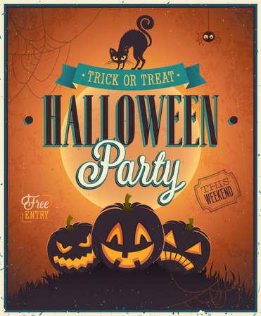 Gelukkig Poster Halloween. Vector illustratie.