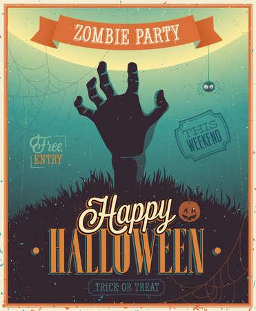 halloween poster: Halloween Zombie Party Poster. Illustrazione di vettore. Vettoriali