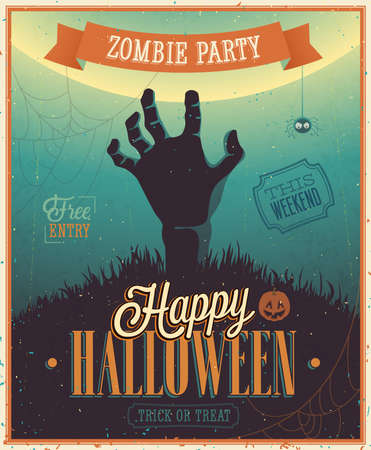 scary: Halloween Zombie Party Poster. Vector illustration.