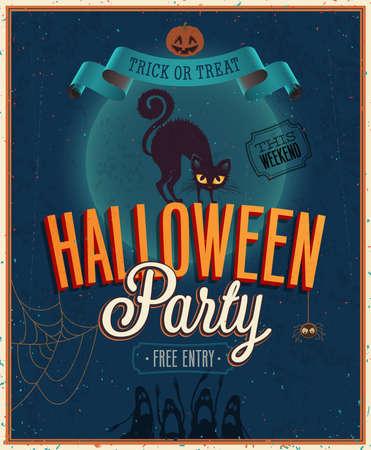 halloween poster: Felice Poster Halloween. Illustrazione vettoriale.