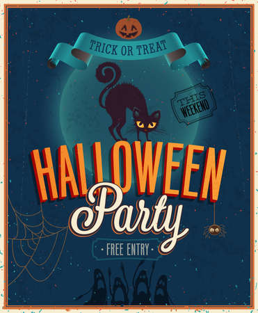 party flyer background: Happy Halloween Poster. Vector illustration.