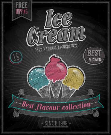 ビンテージ アイス クリームのポスター - 黒板。ベクトル イラスト。  イラスト・ベクター素材