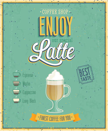 Vintage Latte affisch. Vector illustration.