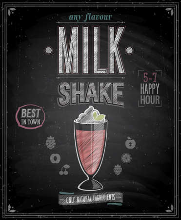 Vintage MilkShake affisch - Svarta tavlan. Vector illustration. Illustration
