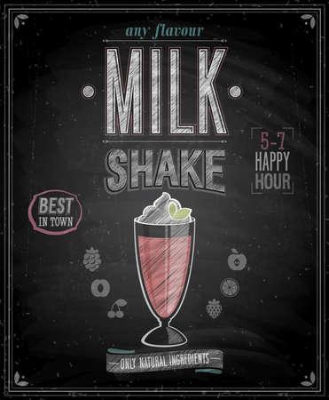 milkshake: Vintage MilkShake Poster - Chalkboard. Vector illustration.