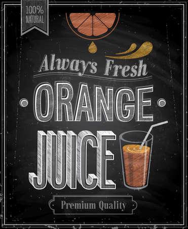 sappen: Vintage Orange Juice - Schoolbord. Vector illustratie.
