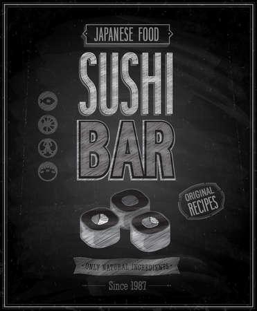 Vintage Sushi Bar Poster - Chalkboard. Vector illustration. Vector