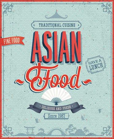 food: 老式迴轉壽司店海報。向量插圖。