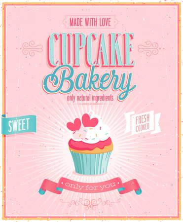 �pastries: Poster Cupcake Vintage. Ilustraci�n del vector.