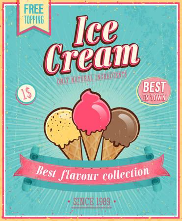 ビンテージ アイス クリームのポスター。ベクトル イラスト。