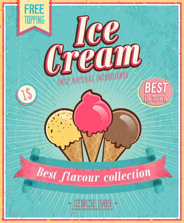 ice cream: Vintage Ice Cream Poster. Vector illustration.
