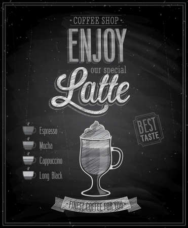 Vintage Latte Poster - Chalkboard. Vector illustration. Vector
