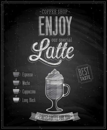 brewed: Vintage Latte Poster - Chalkboard. Vector illustration.