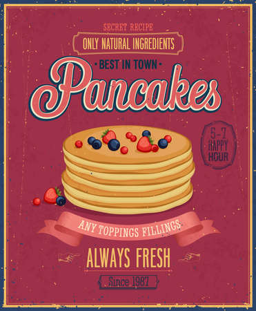 eatery: Vintage Pancakes Poster. Vector illustration.
