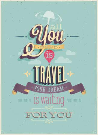 viaggi: Vintage Travel Poster. Illustrazione di vettore.