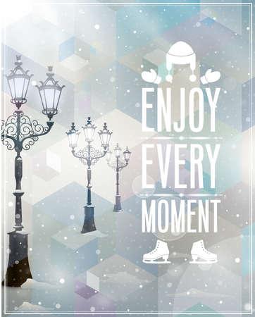 Winter poster. Vector achtergrond. Stock Illustratie