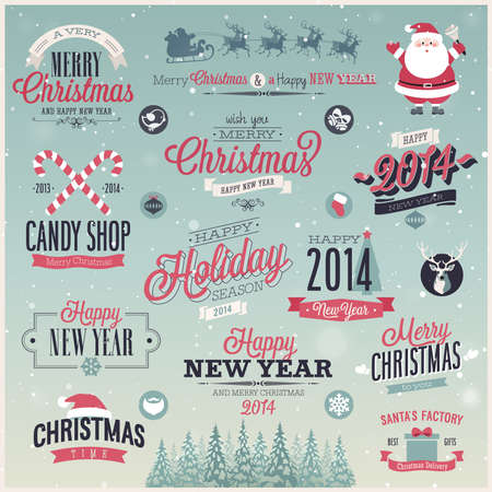 Christmas set - labels, emblems and other decorative elements. Vector illustration. Stock Vector - 23641453