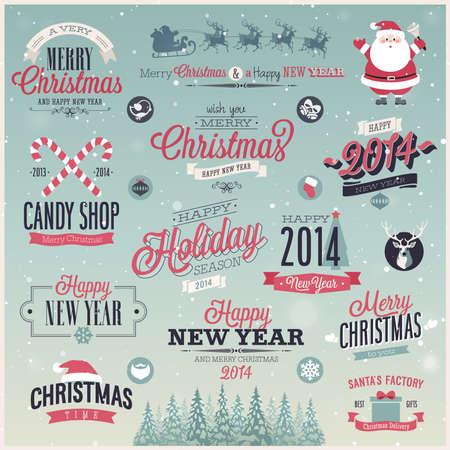 Kerst set - etiketten, emblemen en andere decoratieve elementen. Vector illustratie. Stock Illustratie