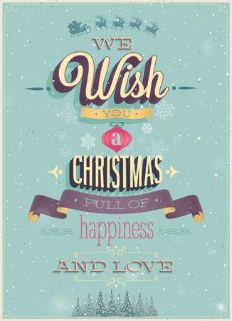 Uitstekende Affiche van Kerstmis. Vector illustratie.