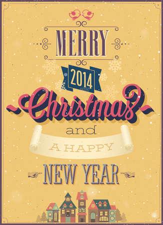Vintage Christmas Poster. Vector illustration.
