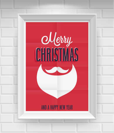 Vintage Christmas Poster. Vector illustration. Vector
