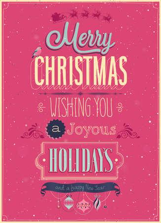 Vintage Poster Kerstmis. Vector illustratie.