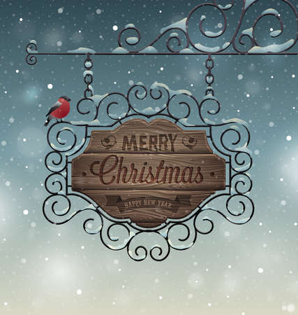 wooden signboard: Christmas vintage greeting card - wooden signboard. Vector illustrator. Illustration