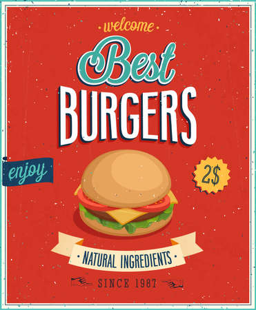 eating burger: Vintage Burgers Poster  Vector illustration  Illustration