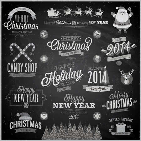 Christmas set - labels, emblems and other decorative elements Vector