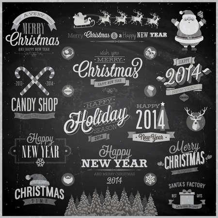 decorative elements: Christmas set - labels, emblems and other decorative elements