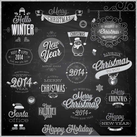 Christmas set - labels, emblems and other decorative elements Stock Vector - 24025607