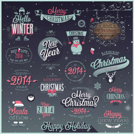 Kerstmis set - etiketten, emblemen en andere decoratieve elementen