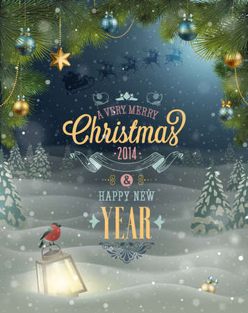 Christmas Poster  Vector illustration Stock Vector - 24025616