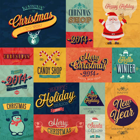Christmas set - labels, emblems and other decorative elements Stock Vector - 24025617