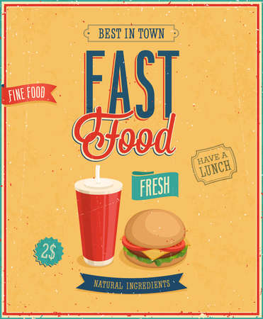 Vintage Fast Food Poster  Vector illustration  Vector