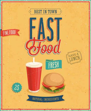 french cafe: Vintage Fast Food Poster  Vector illustration