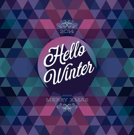 Hello winter  Poster  Vector illustration  Vector