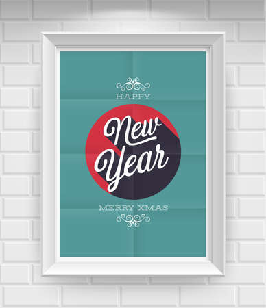 Vintage New Year Poster  Vector illustration  Vector
