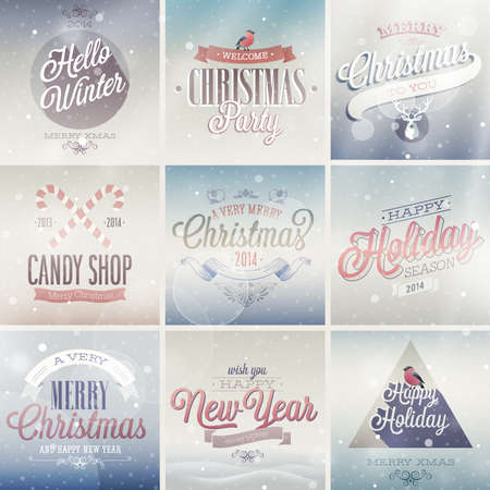Christmas set - labels, emblems and other decorative elements. Stock Vector - 24230505
