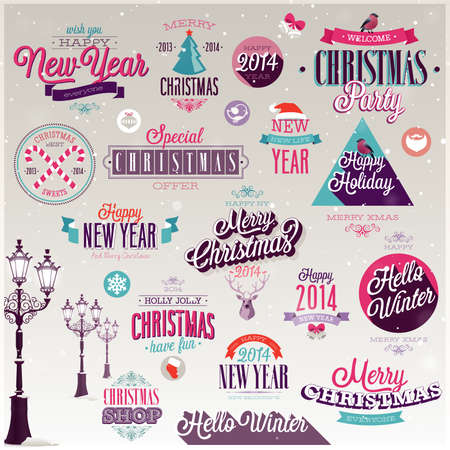 Christmas set - labels, emblems and other decorative elements. Stock Vector - 24230504