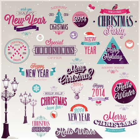 Ensemble de Noël - étiquettes, emblèmes et autres éléments décoratifs.